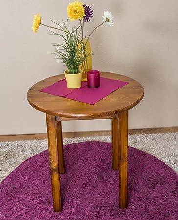 Runder Massivholz Esstisch 70x70 cm Kiefermassiv, Farbe: Eiche