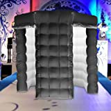 Happybuy 2 Doors Inflatable Photo Booth 8.2X 8.2ft Octagonal Shape Photo Booth Enclosure Portable LED Lights Photo Booth W/Fan Great for Parties Weddings Anniversary Birthdays Company Parties Special (Color: Black, Tamaño: 2 Doors)
