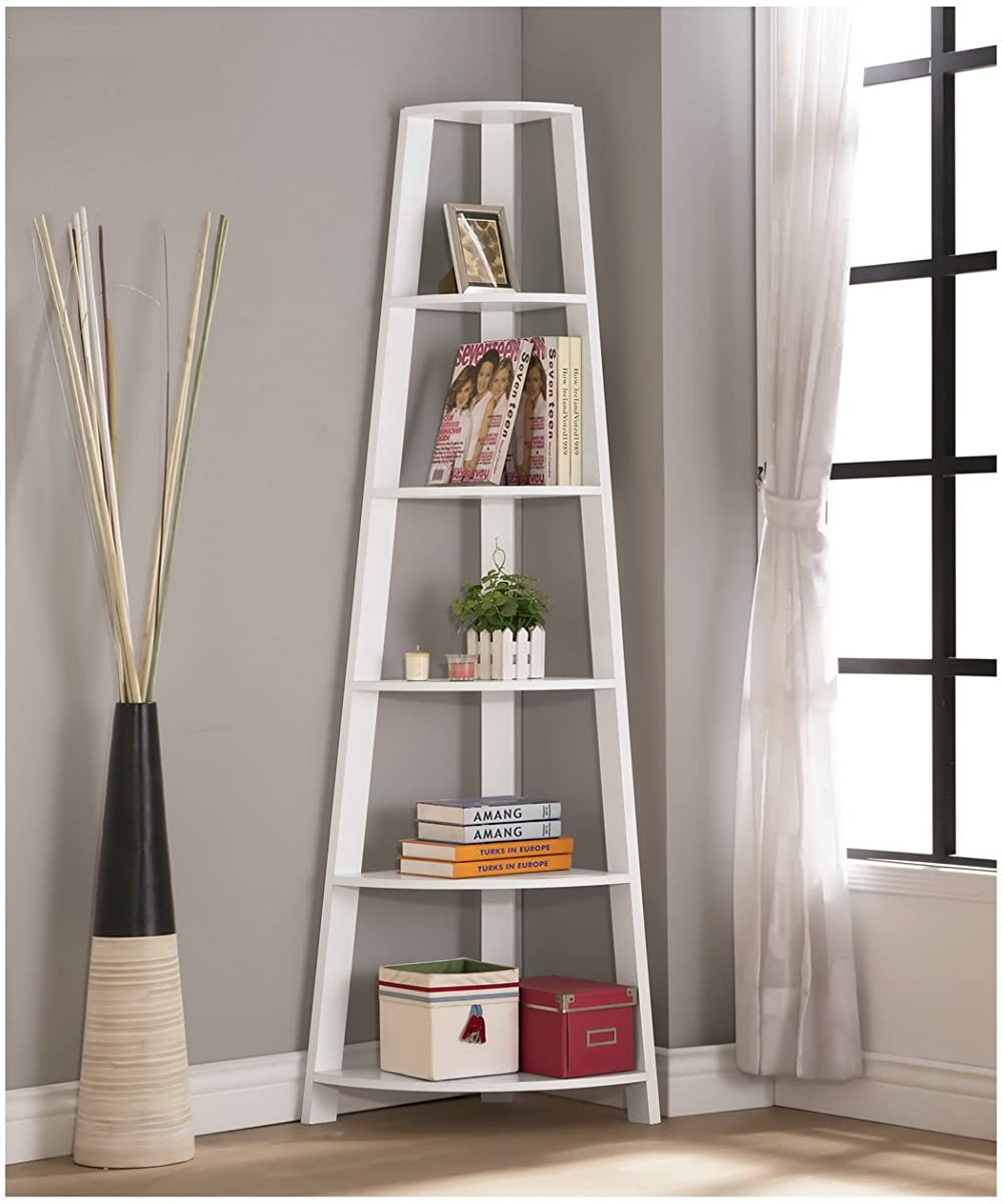 White Finish Wood Wall Corner 5-Tier Bookshelf Bookcase