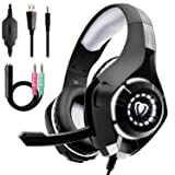 Beexcellent Gaming Headset for PS4 Xbox One PC Nintendo Switch (Audio) with Noise Isolation Mic Crystal Stereo Surround Sound LED Lights (GM-1) (Grey) (Color: Grey)