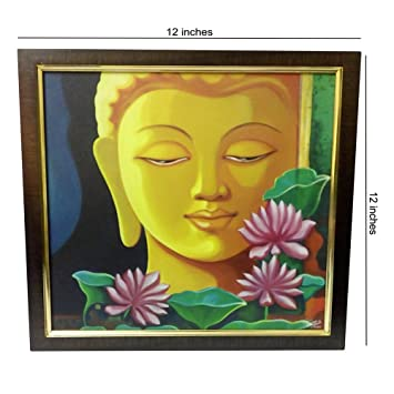 gautam buddha digital print on canvas with wooden frame for wall decor best use for living