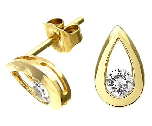 Naava 9 ct Gold Quarter Carat Diamond Teardrop Earrings