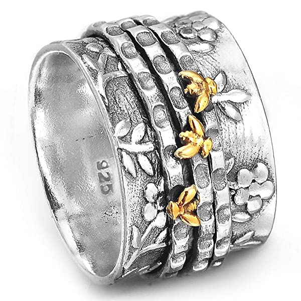Spinner Ring 925 Sterling Silver Boho Handmade Jewelry for Women