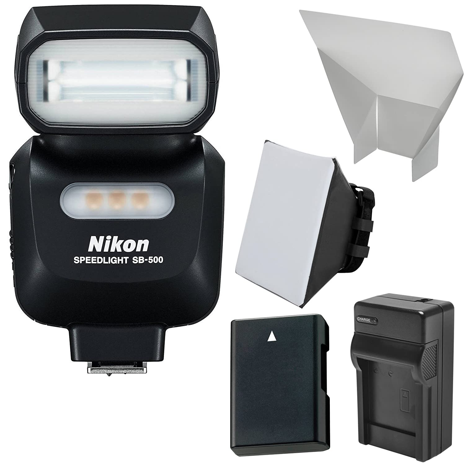 Nikon SB-500 AF Speedlight Flash & LED Video Light + EN-EL14 Battery & Charger + Softbox + Reflector Kit for D3200, D3300, D5100, D5200, D5300 Camera meike vertical battery pack grip for nikon d5300 d3300 2 en el14 dual charger
