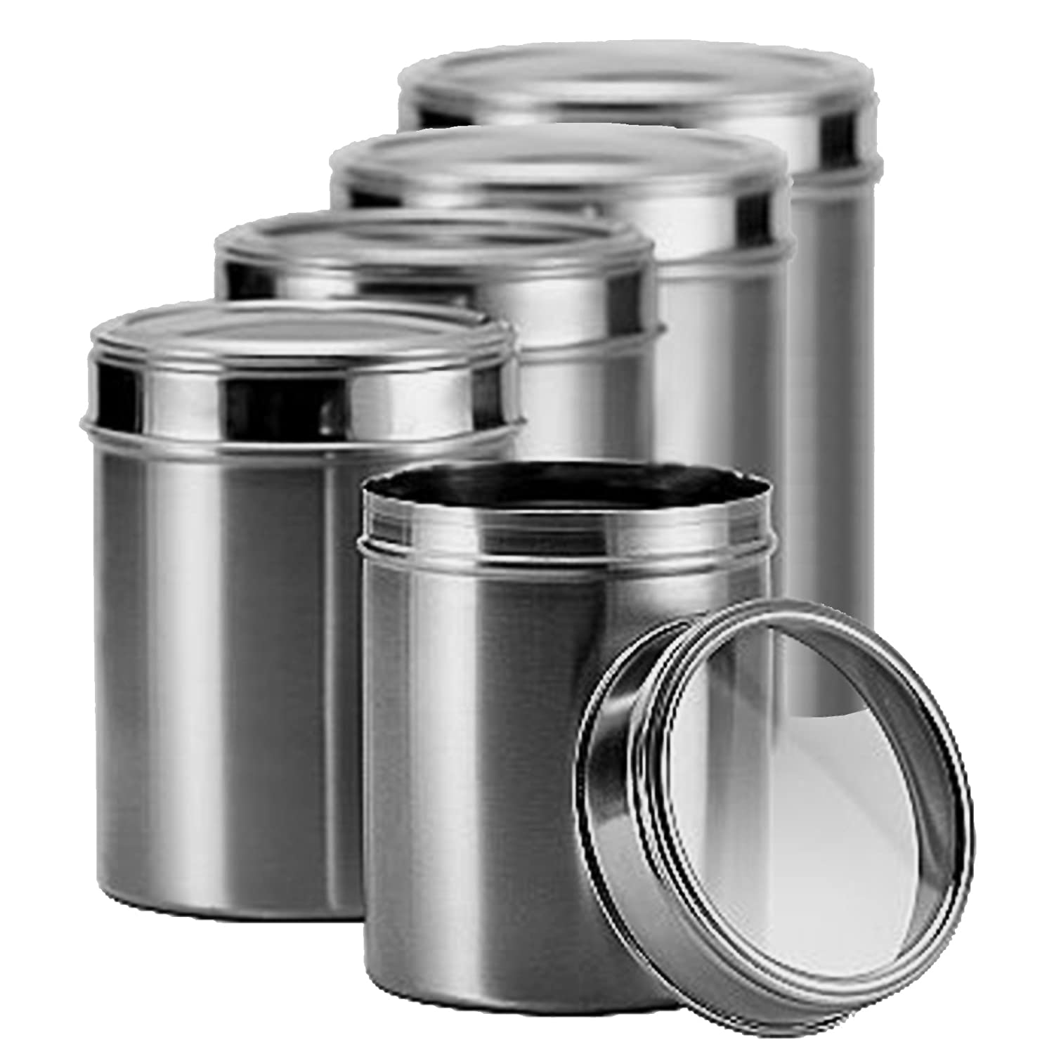 Brand new matbah 5 piece stainless steel canister set for Kitchen set vessels
