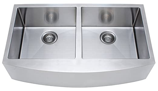 FrankeUSA FFD33B-9-18 Double Bowl Farmhouse Kitchen Sink, Stainless Steel