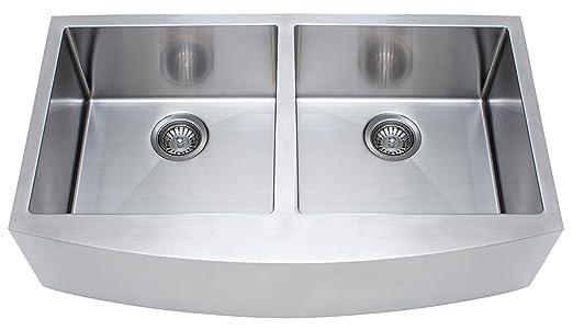 FrankeUSA FFD33B-9-18 Double Bowl Farmhouse Kitchen Sink, Stainless Steel