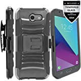Galaxy J7 V Case / Galaxy J7 Perx Case / Galaxy J7 Sky Pro / J7 Prime / Galaxy Halo / J7 2017 Case With Tempered Glass Screen Protector,IDEA LINE(TM)Combo Holster Kickstand Belt Clip - Black