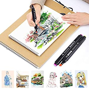 80 Colors Dual Tip Marker Pen Waterproof Professional for Arts Sketch Coloring Books Painting Manga and Design (80 Pcs, Black) (Color: Black, Tamaño: 80 Pcs)