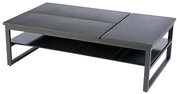 Table basse modulable en Aluminium coloris graphite - Dim : L 140 x P 86 x 43cm
