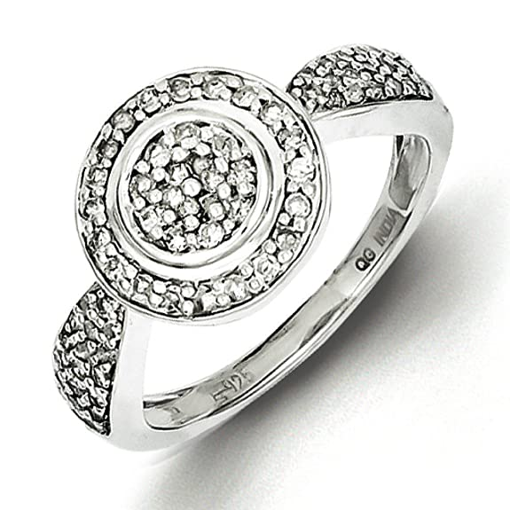 Sterling Silver Circle Diamond Ring - Ring Size Options Range: L to P
