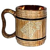 5MoonSun5's Handmade wooden Beer Mug copper Cup Carved Natural Beer Stein Old-Fashioned Barrel Brown Vintage Bar accessories - Wood Carving stark Beer Mug Great Retro Design Beer Tankard for Men 16oz, (Color: Wooden, Tamaño: H x 6 inch, W x4 inch,)