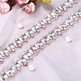 Bridal Wedding Applique Rhinestone for Dress Sahes Belts Accessories Rose Gold (Color: Rose gold-010RG, Tamaño: 1 Yard)