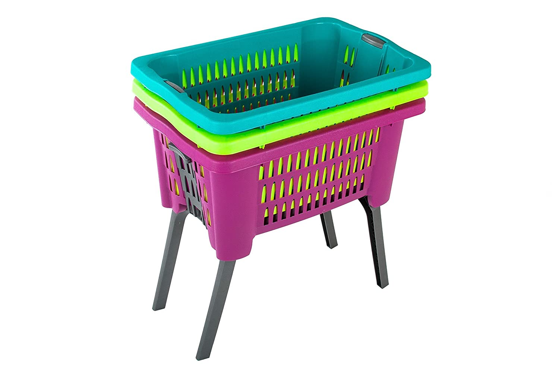 Wäschekorb mit Beinen ausklappbar, Farbe:grün online kaufen