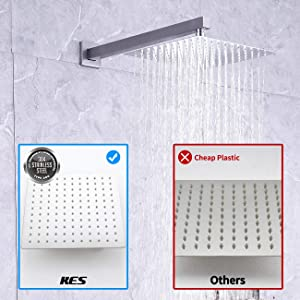 KES Pressure Balancing Rain Shower System 3-Functions Shower Faucet Complete Set Square Brushed Nickel (Including Shower Faucet Rough-In Valve Body and Trim), XB6230-BN (Color: Brushed Nickel, Tamaño: Square 10 overhead shower+hand shower)
