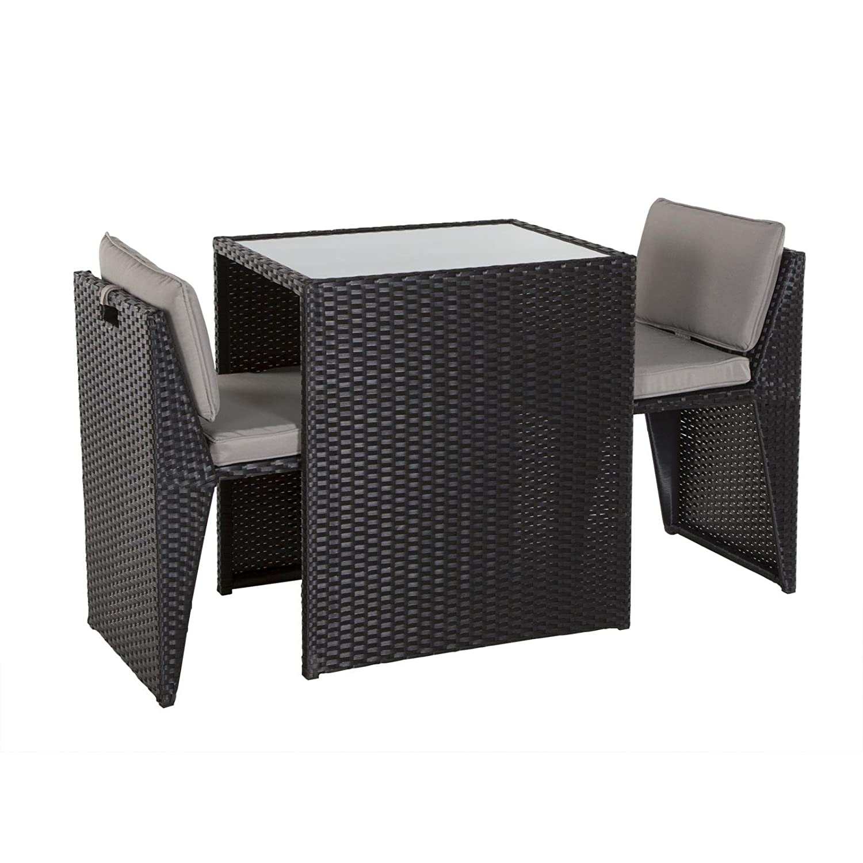 Balkonmöbel Set Balkonset Terassenmöbel platzsparend Box Stahl PE-Rattan schwarz online bestellen