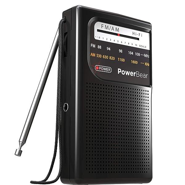PowerBear AM FM Radio (Portable Radio) Handheld Battery Operated Radio   Long Range and Long Lasting Radio - Black