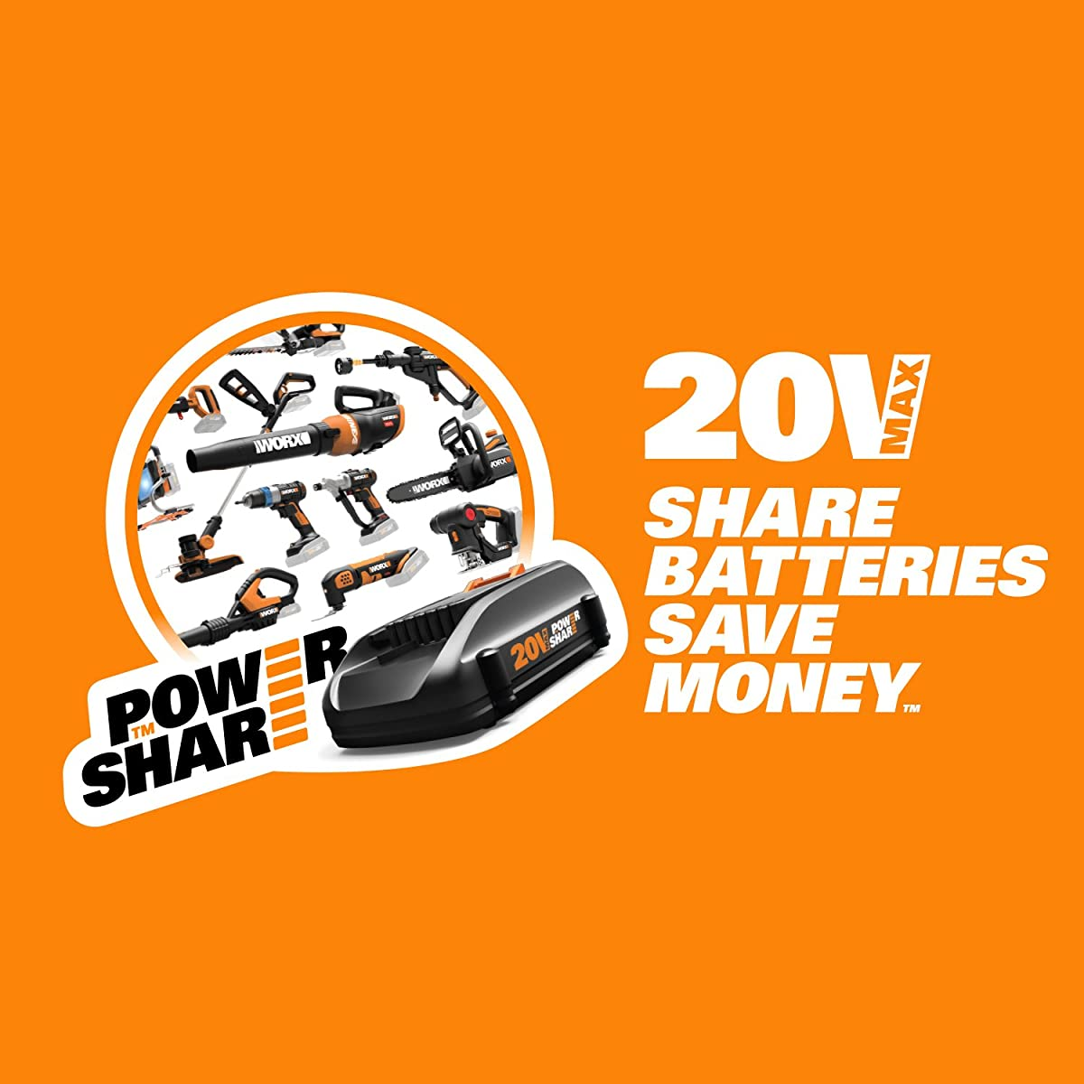WORX WG546 TURBINE 20V Cordless Blower/Sweeper with 340 CFM 2-Speed Axial Fan, Battery and Charger Included