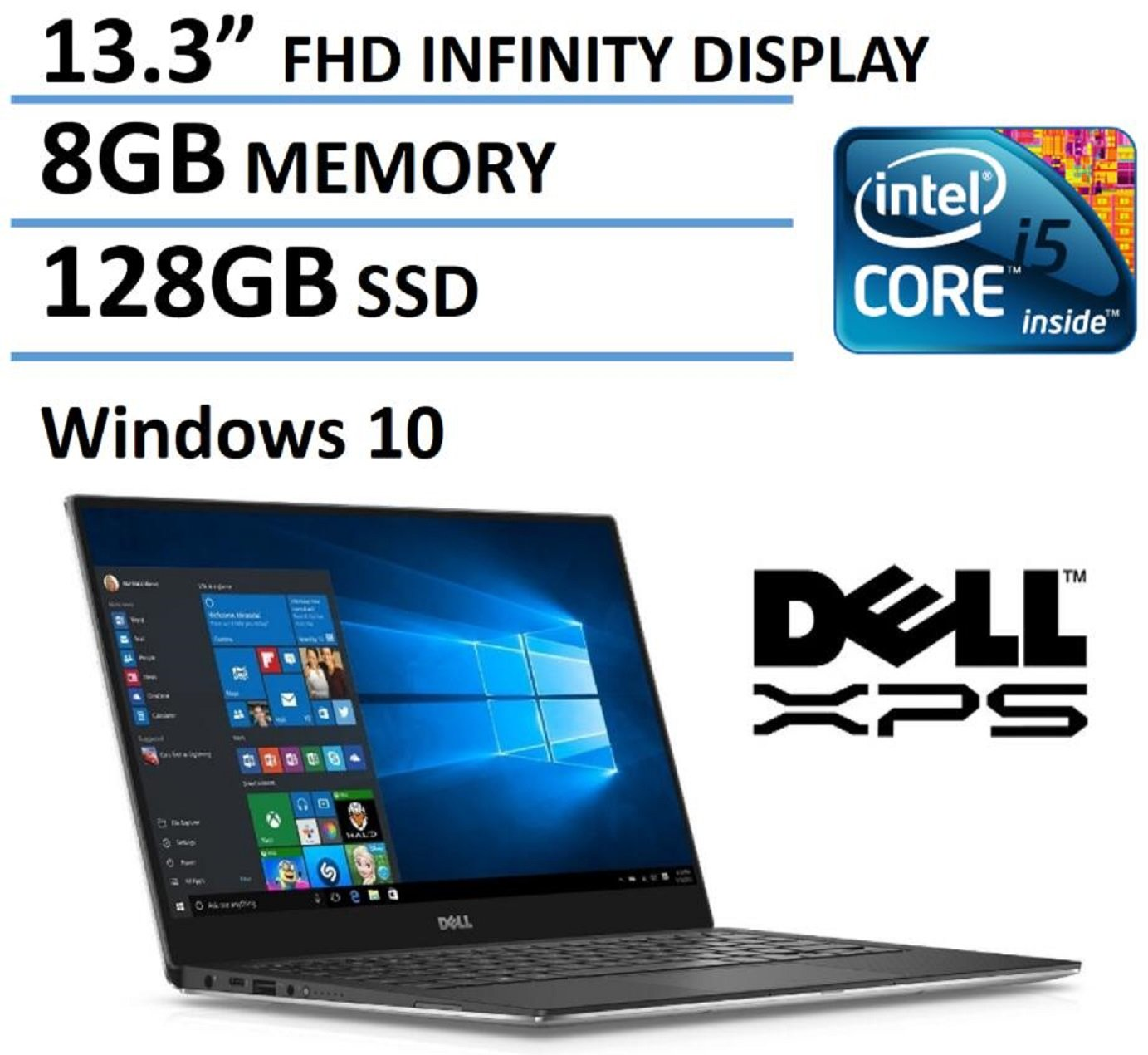 "2016 Newest Dell XPS 13 High Performance Laptop with 13.3"" FHD IPS Infinity Borderless Display, Intel Core i5-6200U Processor, 8GB RAM, 128GB SSD, 11 hours battery life, Backlit Keyboard, Windows 10"