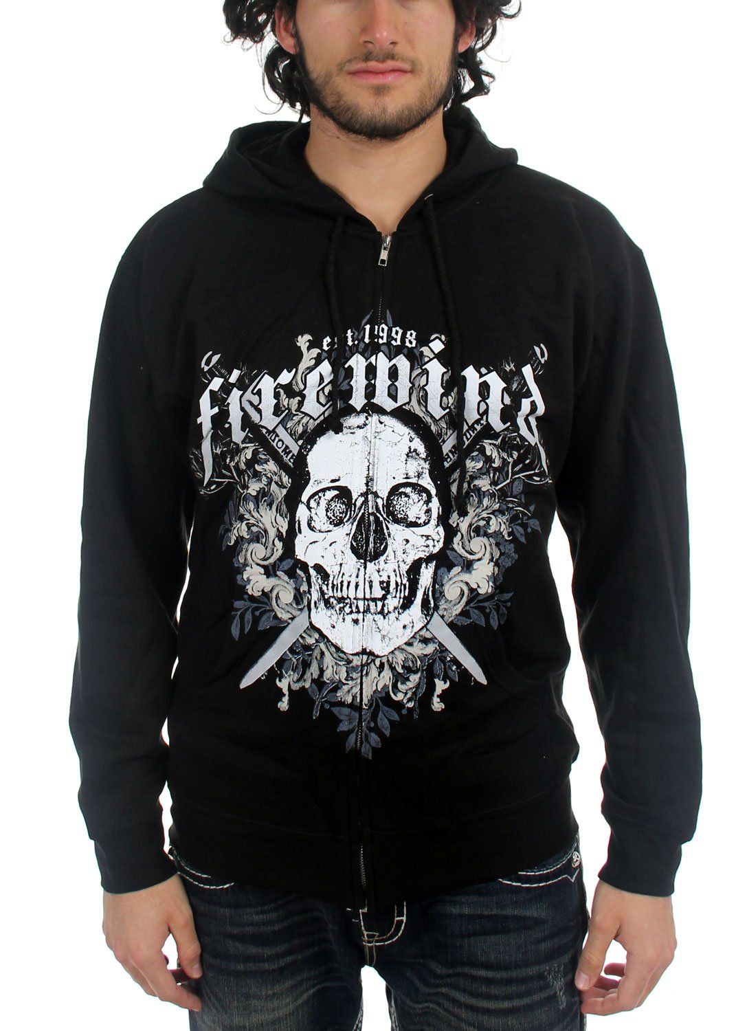 Mens Skull and Swords Hoodie in Black