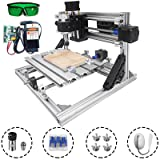 Mophorn CNC Machine 2418 Grbl Control CNC Router Kit 3 Axis PCB Laser Engraver 240X180X40Mm With 5500mW Laser Head Module and Lamp (Tamaño: 240x180mm)