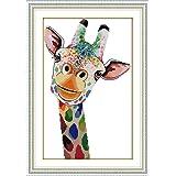 DIY Cross Stitch Stamped Kits for Home Decor 14''x 20.5'' - Colorfol Animal Cross-Stitching Needlecrafts Pattern, Giraffe (Color: Printed Kits, The Giraffe)