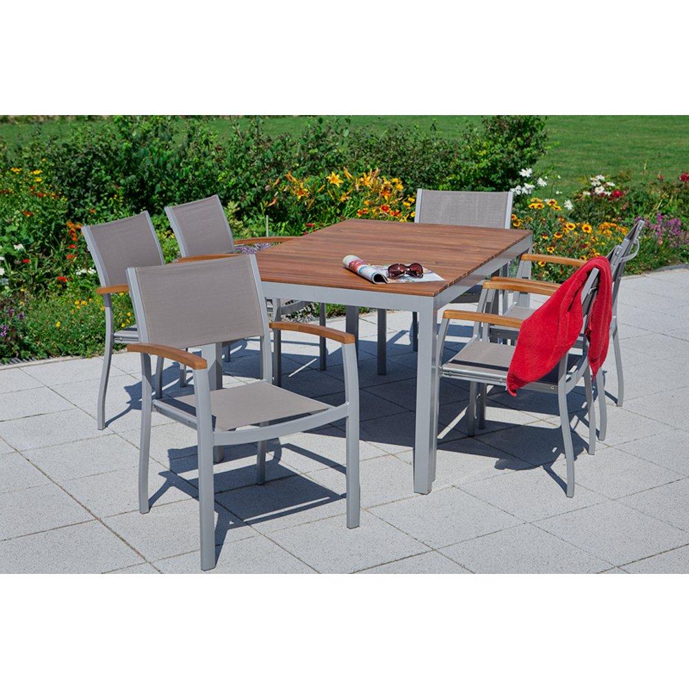 MERXX Gartenmöbel-Set 7-tgl. Cagliar Stapelsessel, Tisch
