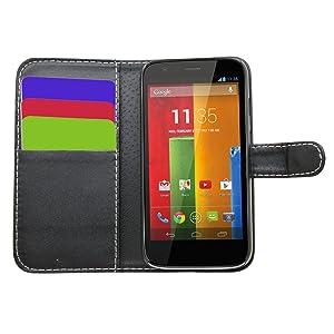 Samrick Executive - Funda de piel tipo libro para Motorola Moto G (con tarjetero, protector de pantalla, gamuza de microfibra y mini lápiz capacitivo)  Electrónica revisión