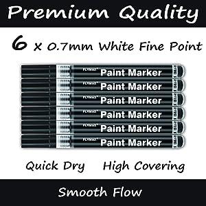 Black Acrylic Paint Pen, 6 Pack 0.7mm Acrylic Black Permanent Marker Black Paint Pen for Glass Ceramic Rock Leather Plastic Stone Metal Canvas Enamel Marker Waterproof Writing Extra Fine Point (Color: Black Paint Marker Pen)