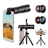 Phone Camera Lens, 5 in 1 Cell Phone Lens Kit 15X Telephoto Zoom Lens + Wide Angle + Fisheye + Macro Lens(2 Lens) Compatible with iPhone Samsung Android and Most Smartphones (Color: 15X-5 in 1, Tamaño: 15X)