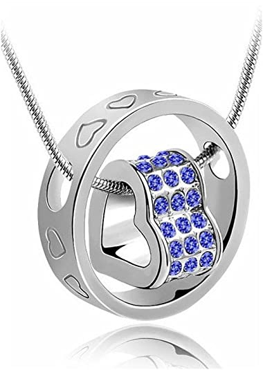 Habors 18K White Gold Plated Blue Austrian Crystal Fortune Hearts Pendant for Women at amazon