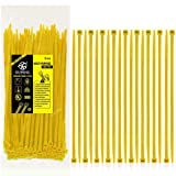 Nylon Zip Ties Heavy Duty- 8 Inch Yellow,Multi-Purpose Self Locking Cable Ties, Ultra Strong Plastic Wire Ties with 50 Pounds Tensile Strength, 100 Pieces. (Color: Yellow, Tamaño: 8 Inch)