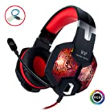 Stereo Gaming Headset with Mic for PC PS4 Xbox One Nintendo Switch,Lightweight Over Ear Headphones 3.5mm Jack for Laptop Mac,USB RGB LED Light & Noise Cancelling Mic Mute & Volume Control - Red (Color: C-G1000 Red)