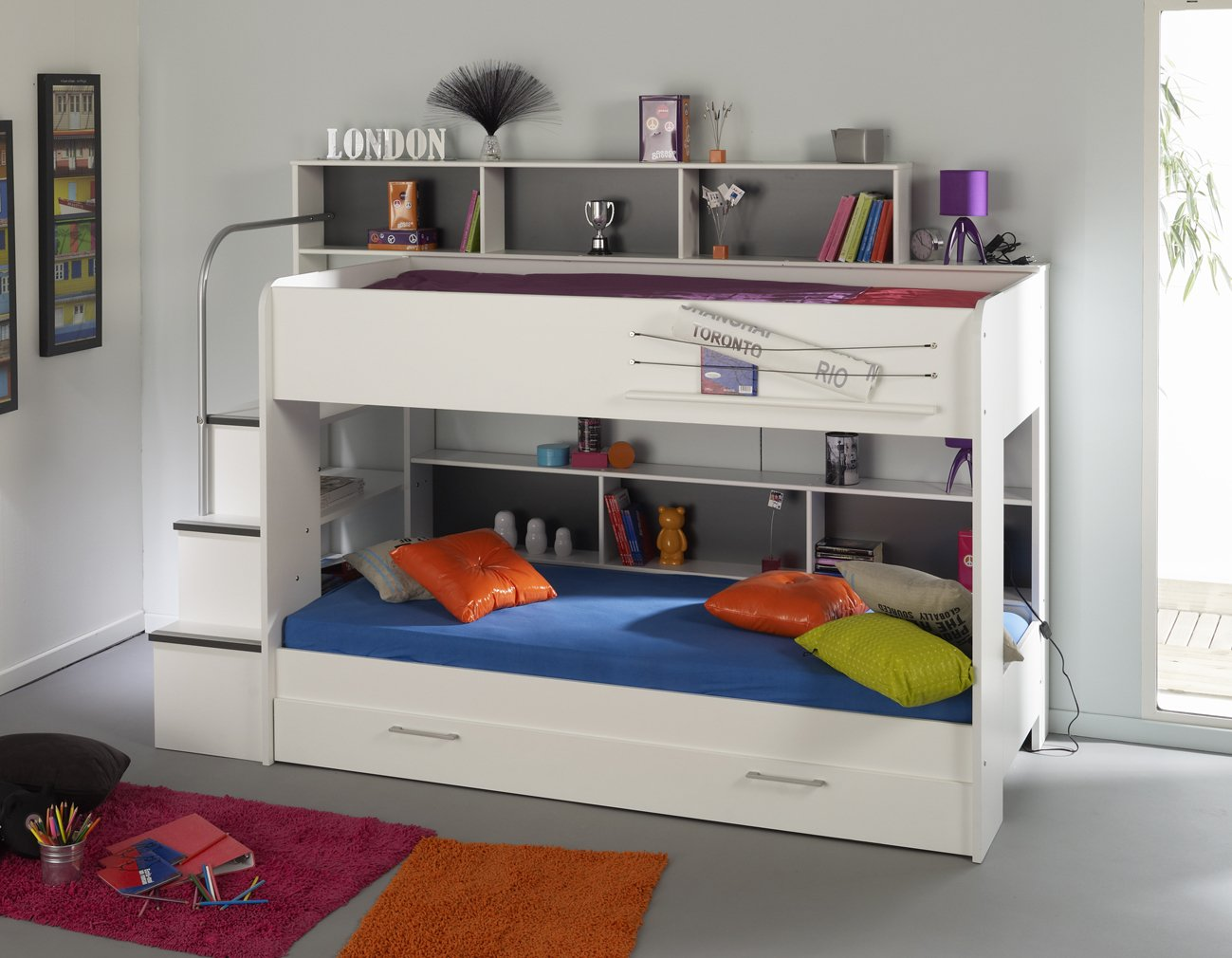 90x200 Kinder Etagenbett Weiß/grau mit Bettkasten Treppe und Geländer  Kritiken und weitere Infos