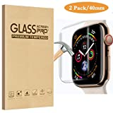 [2 Pack] Fotbor [Full Coverage] [Full Glue] Compatible for Apple Watch 40mm Series 4 Tempered Glass Screen Protector, Anti-Scratch HD Clear Anti-Bubble for iWatch 40mm Screen Protector (Color: 40mm)