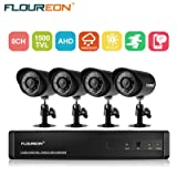 floureon 8 CH House Camera System DVR 1080N AHD + 4 Outdoor/Indoor Bullet Home Security Cameras 1500TVL 720P 1.0MP AHD Resolution Night Version for House/Apartment/Office