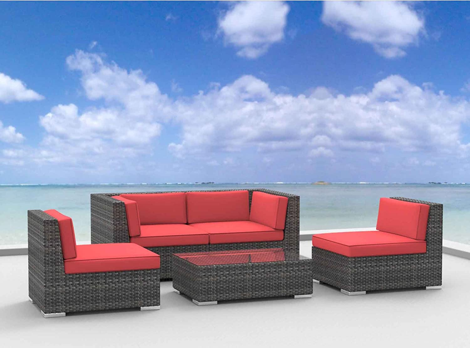 www.urbanfurnishing.net Urban Furnishing - RIO 5pc Modern Outdoor Backyard Wicker Rattan Patio Furniture Sofa Sectional Couch Set - Coral Red at Sears.com