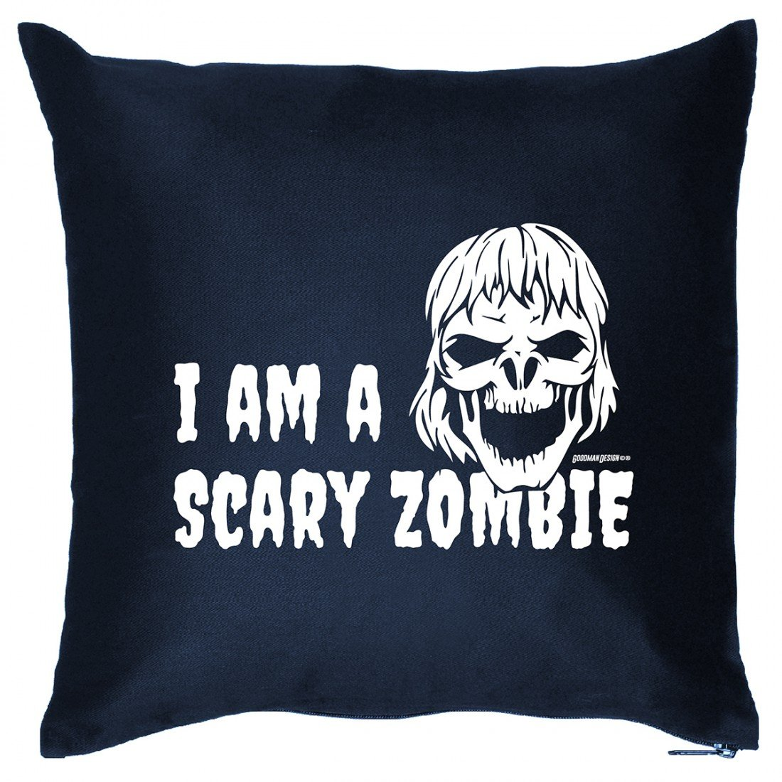 Kissen Sofakissen mit gruseligen Aufdruck – I am a scary Zombie – Horror Hexe Monster Halloween Geschenk – Wendekissen günstig kaufen