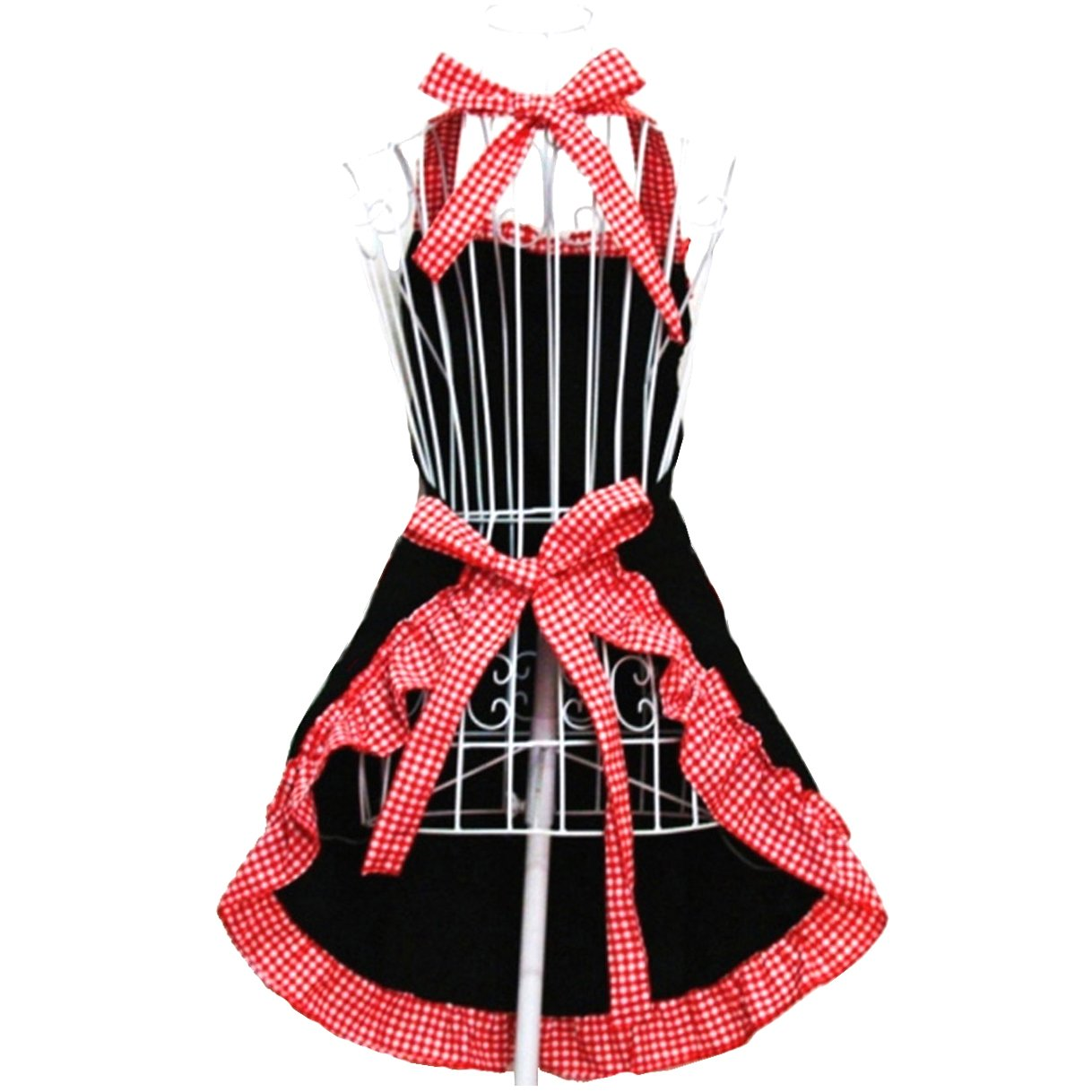 Hyzrz Women's Apron with Pockets, Black and Red 3
