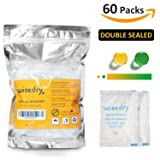 5 Gram [60 PACKS] Silica Gel Desiccant Packets with Orange Beads Humidity Indicator Safe Double Packed for Air Dryer Moisture Removal, Food Grade