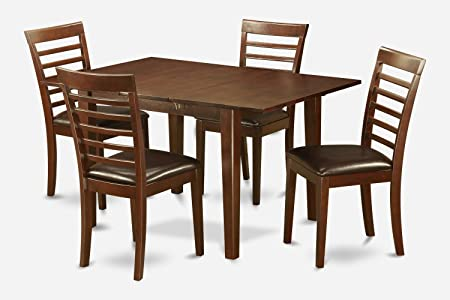 East West Furniture PSML5-MAH-LC 5-Piece Kitchen Nook Dining Table Set, Mahogany Finish