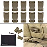 BOOSTEADY Multipurpose MOLLE Clip Tactical Strap Management Tool Web Dominator Buckle for Tactical Bag, Backpack (Color: Brown)