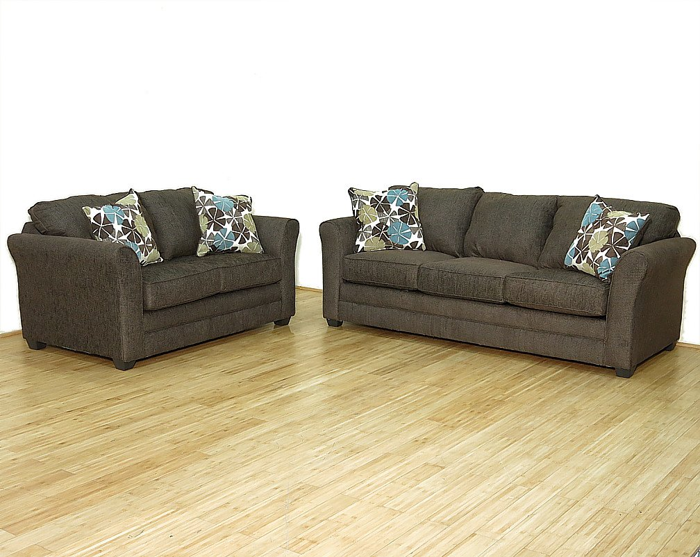 2 Pc Chocolate Brown Contemporary Sofa Couch & Loveseat Living Room Set