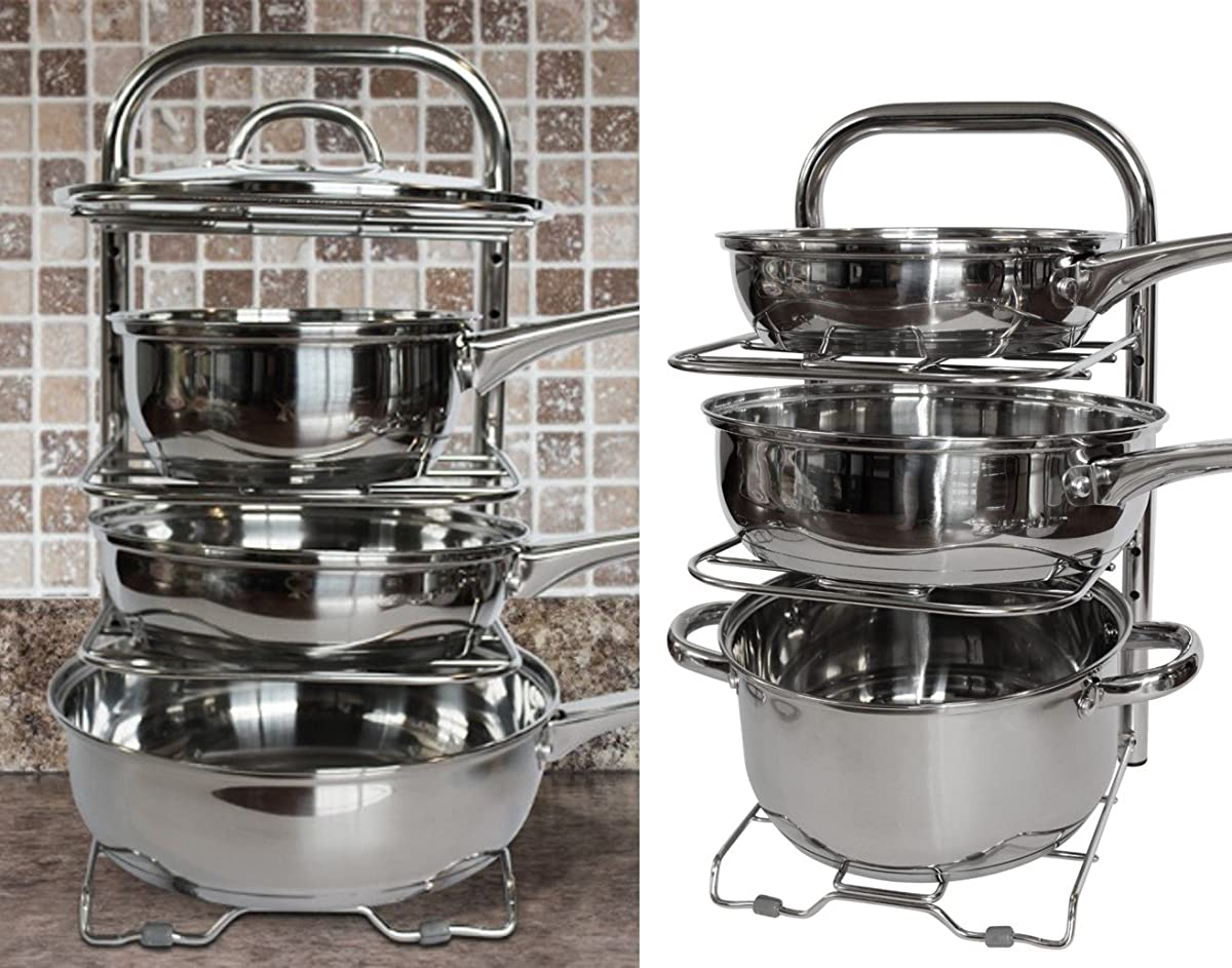 BTH Height Adjustable Pot Pan Organizer Rack 5-Tier: 10 ...