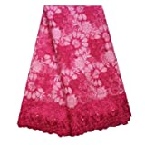 SanVera17 African Lace Net Fabrics Nigerian French Fabric Rope Embroidered and Manual Beading Guipure Cord Lace for Party Wedding 5 Yards (Rose Red) (Color: Rose Red, Tamaño: 48 Inches)