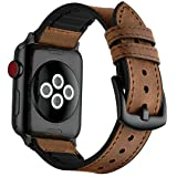 Mifa - Apple Watch Hybrid Sports band vintage Leather Bands Dark Brown Replacement straps Sweatproof classic dress iwatch series 1 2 3 nike space black grey gray 42mm brown men women HB (42mm - Brown) (Color: 42mm - Brown, Tamaño: 42mm - Brown)