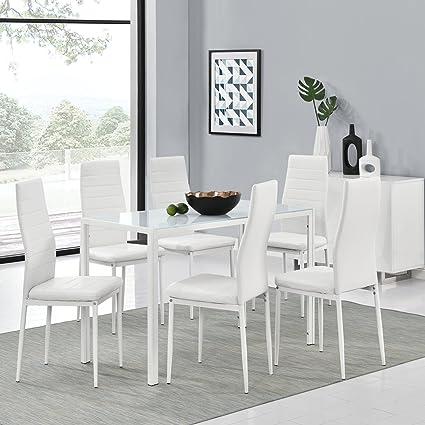 """Essgruppe aus 6er Set Stuhle """"New York"""" und Esstisch """"Manhattan"""" XL in weiß"""