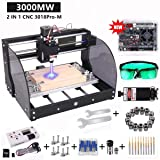 CNC 3018 Pro-M Engraving Machine, Titoe 2-in-1 3000MW Laser Engraver Machine GRBL Control DIY Laser Engraving CNC Router, 3 Axis Pcb Milling Wood Machine with Offline Controller ER11Extension Rod (Color: Sliver, Tamaño: Large)