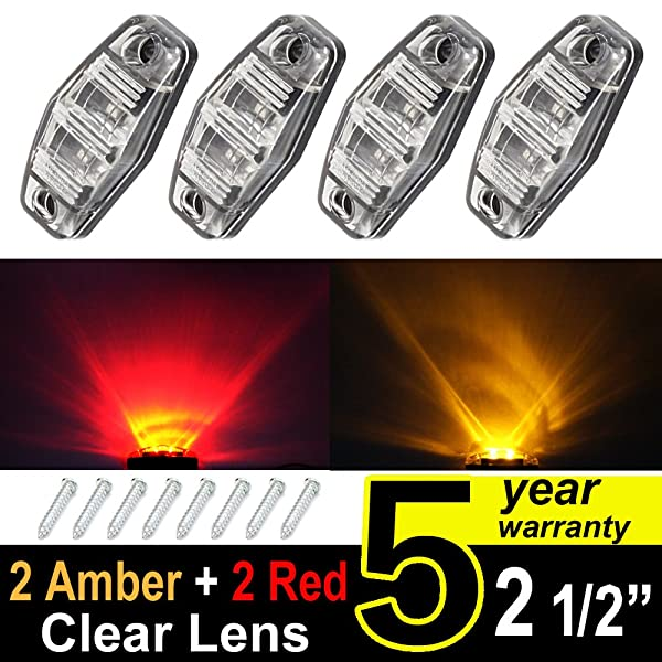 4 pcs TMH 2.5 2 Clear Lens Amber Light + 2 Clear Lens Red Light Super Flux Side Led Marker, Trailer marker lights, Led marker lights for trucks, RV Cab Marker light Red, Surface Mount LED