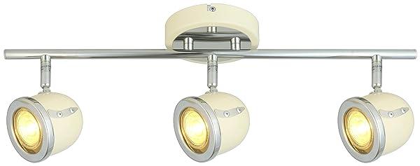 LED Retro Adjustable Eyeball Black &Chrome Ceiling Spotlight (Beige & Chrome, 3 Lights Bar) (Color: Beige & Chrome, Tamaño: 3 Lights Bar)